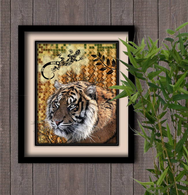 Jungle Tiger/lizard Instant Digital Download Print Wall Decor Graphic Art Printable Home Office (Download)
