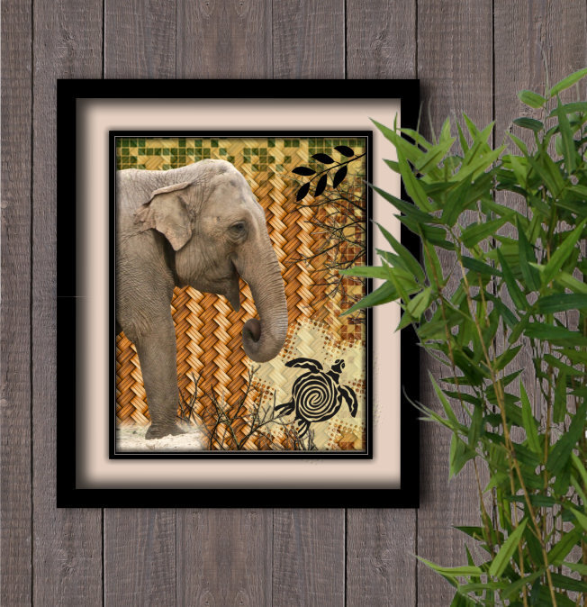 Jungle Elephant/turtle Instant Digital Download Print Wall Decor Graphic Art Printable Home Office (Download)