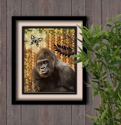 Jungle Gorilla/butterfly Instant Digital Download Print Wall Decor Graphic Art Printable Home Office DIY