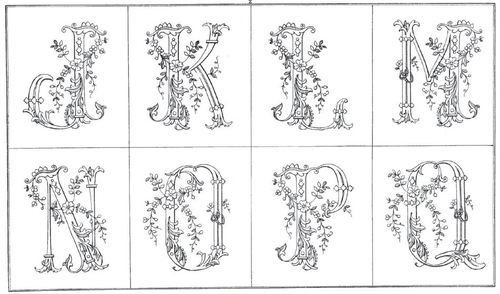 Ornate flower alphabet with matching borders. (Download)