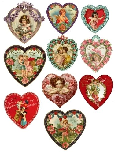 Shabby & Vintage Tags & Old Valentines (Download)