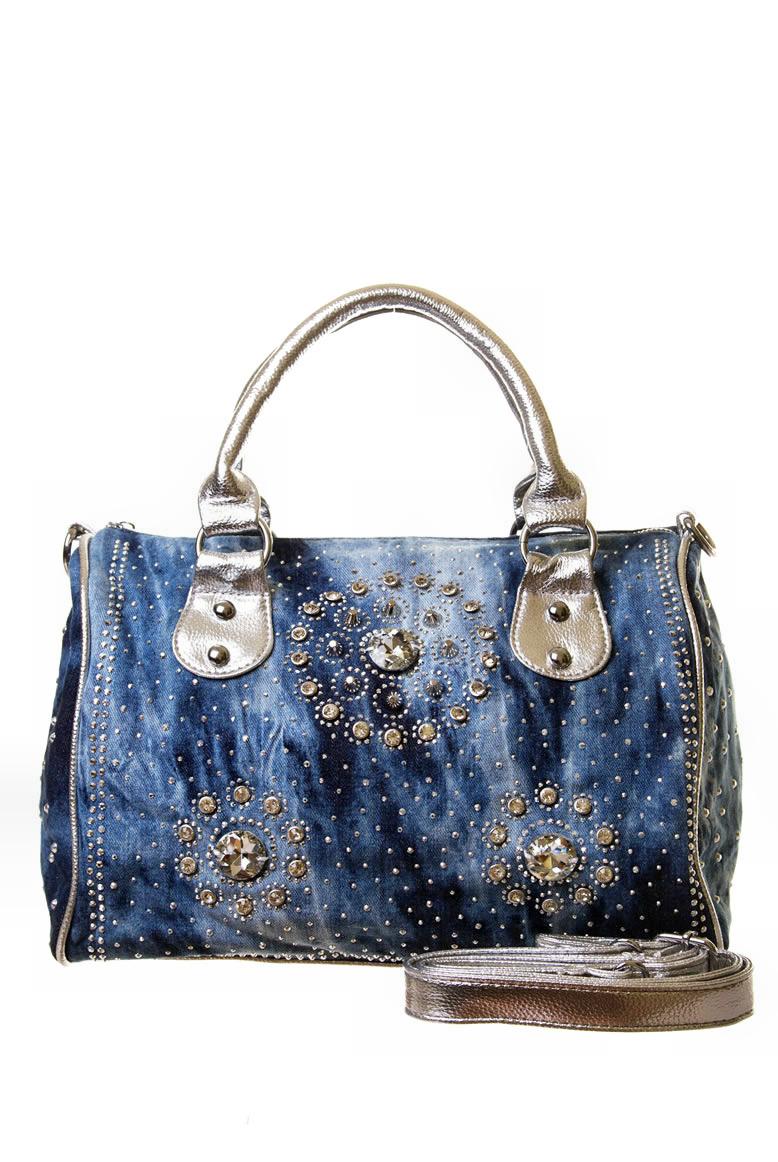 Rhinestone Studded Denim Handbag 000047