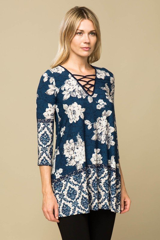 Blue Floral Tunic Top 00006438