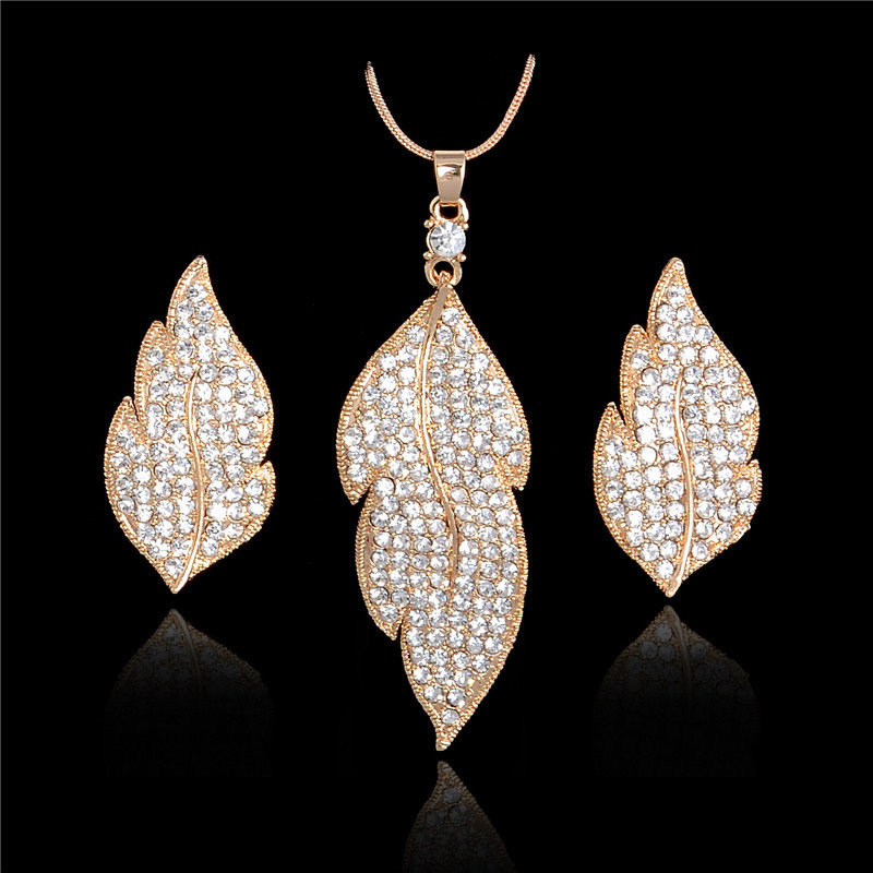 Austrian Crystal Leaf Set 001033
