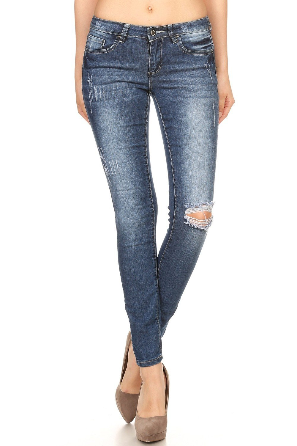 Denim Couture Destroyed Knee Jean