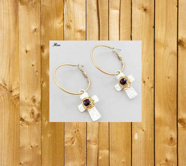 Amethyst Two-Tone Cross Earrings