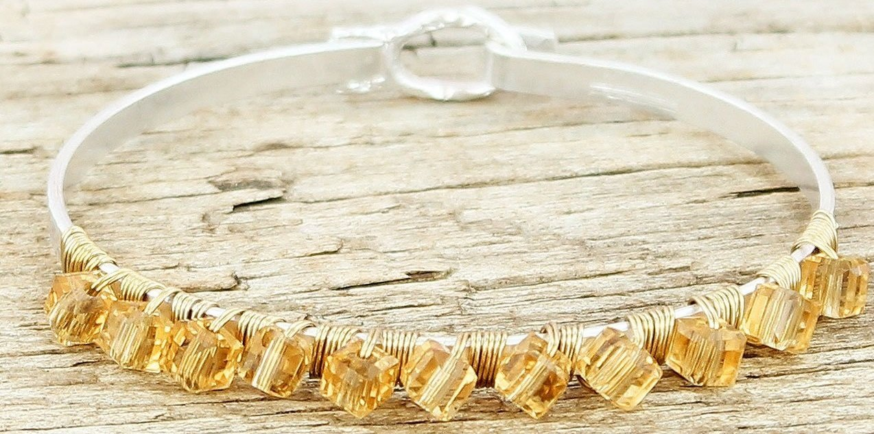 Champagne Wire Wrapped Bangle