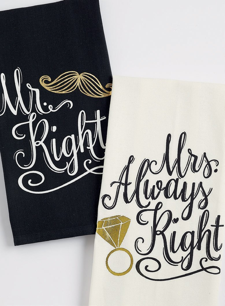 Mr Right and Mrs Always Right Towel Set