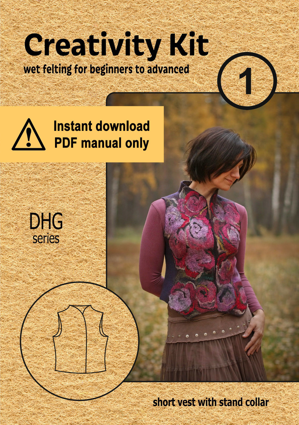 Dhg.1 / Short vest with stand collar