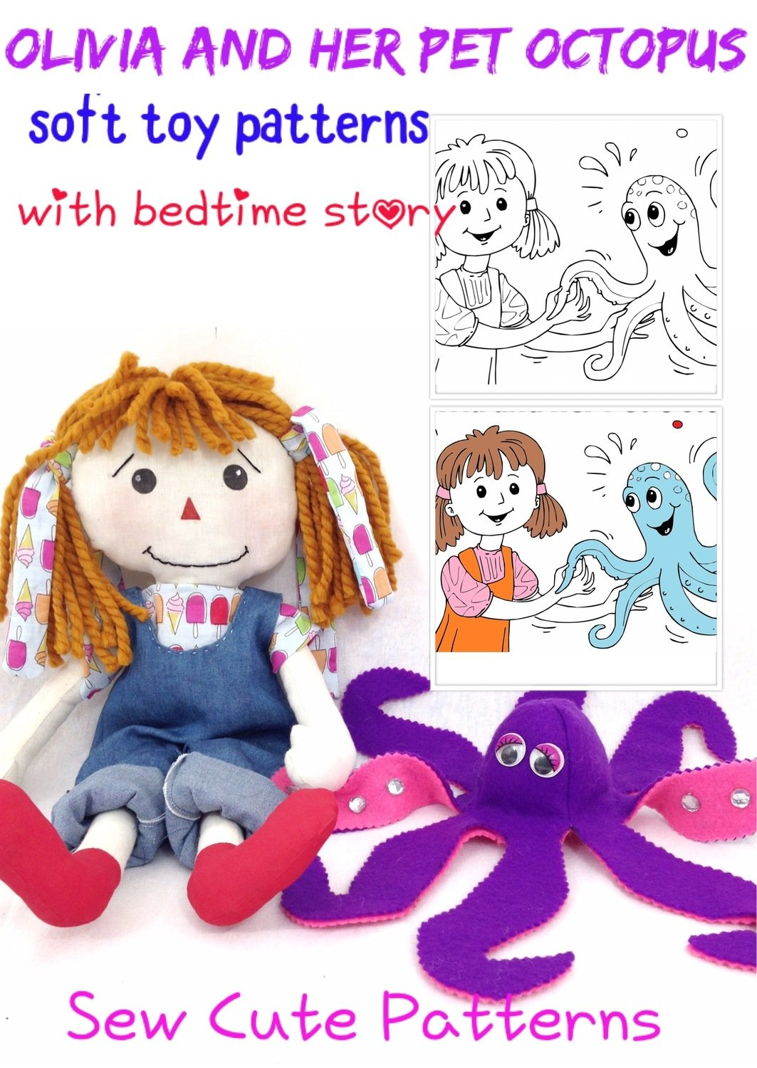 Doll & Octopus Pattern with Coloring Storybook