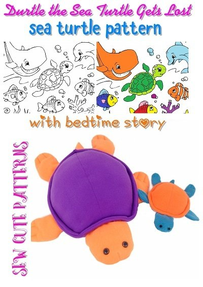Sea Turtle Sewing Patterns with Coloring Storybook