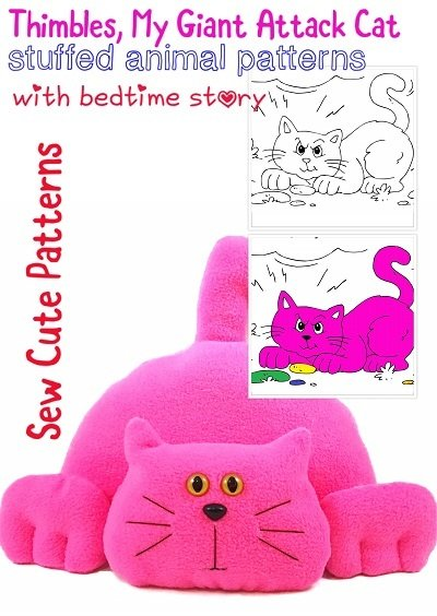 Cat Sewing Pattern with Coloring Storybook
