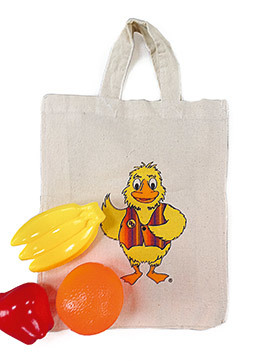 Shopping bag including plastic fruit