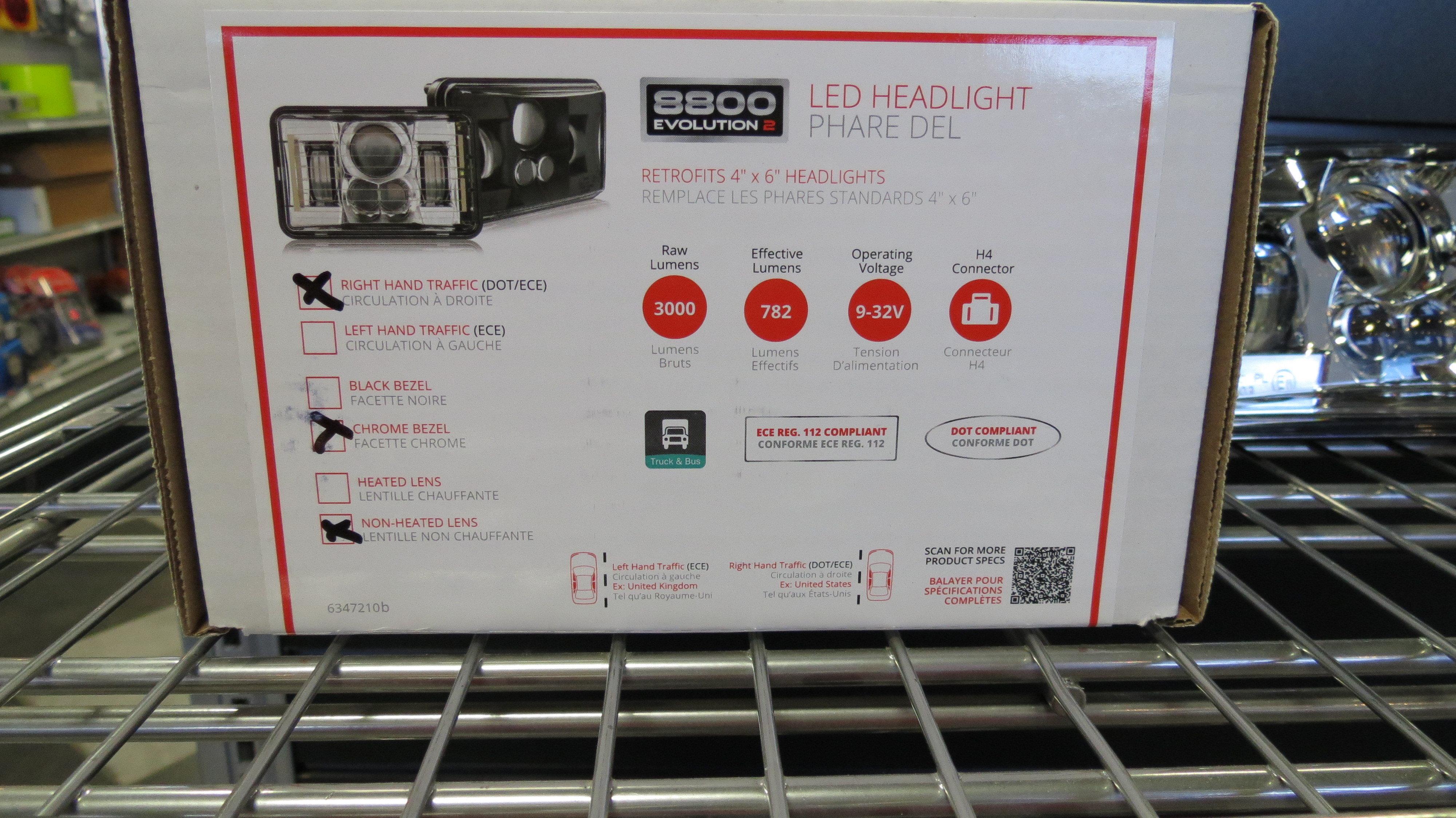 12-24V DOT/ECE LED RHT Low Beam Headlight with Chrome Bezel