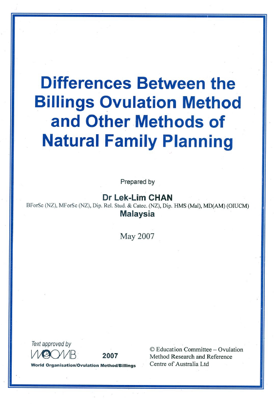 DOWNLOAD Differences between the Billings Ovulation Method and other Methods of Natural Family Planning by Dr. Lek-Lim Chan English and Vietnamese