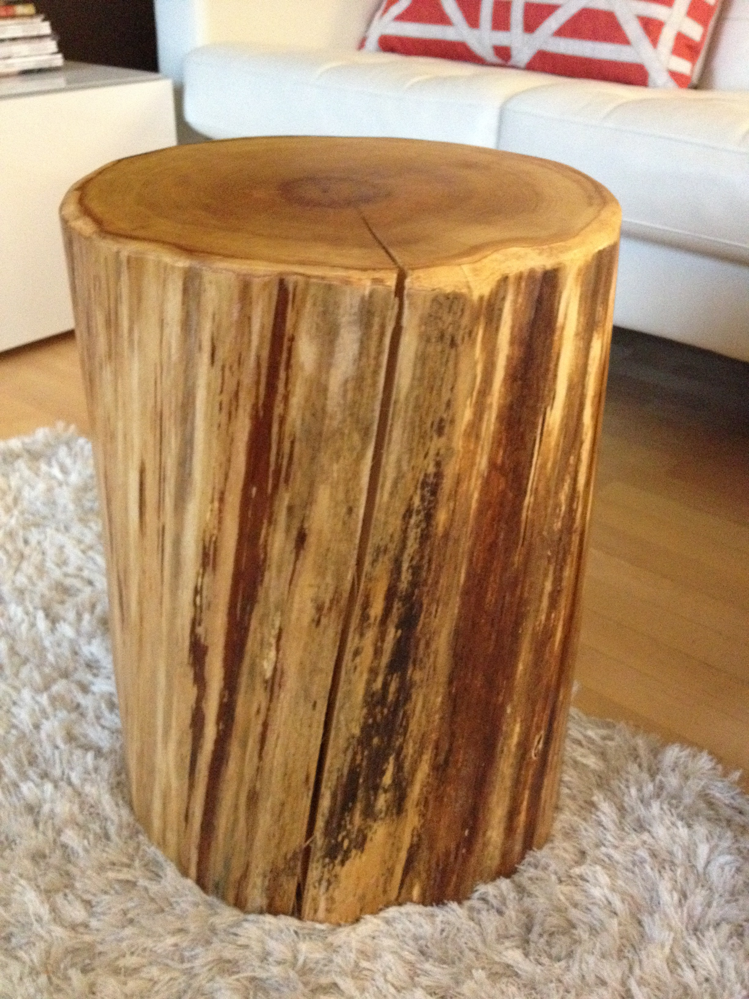 cedar stump side table