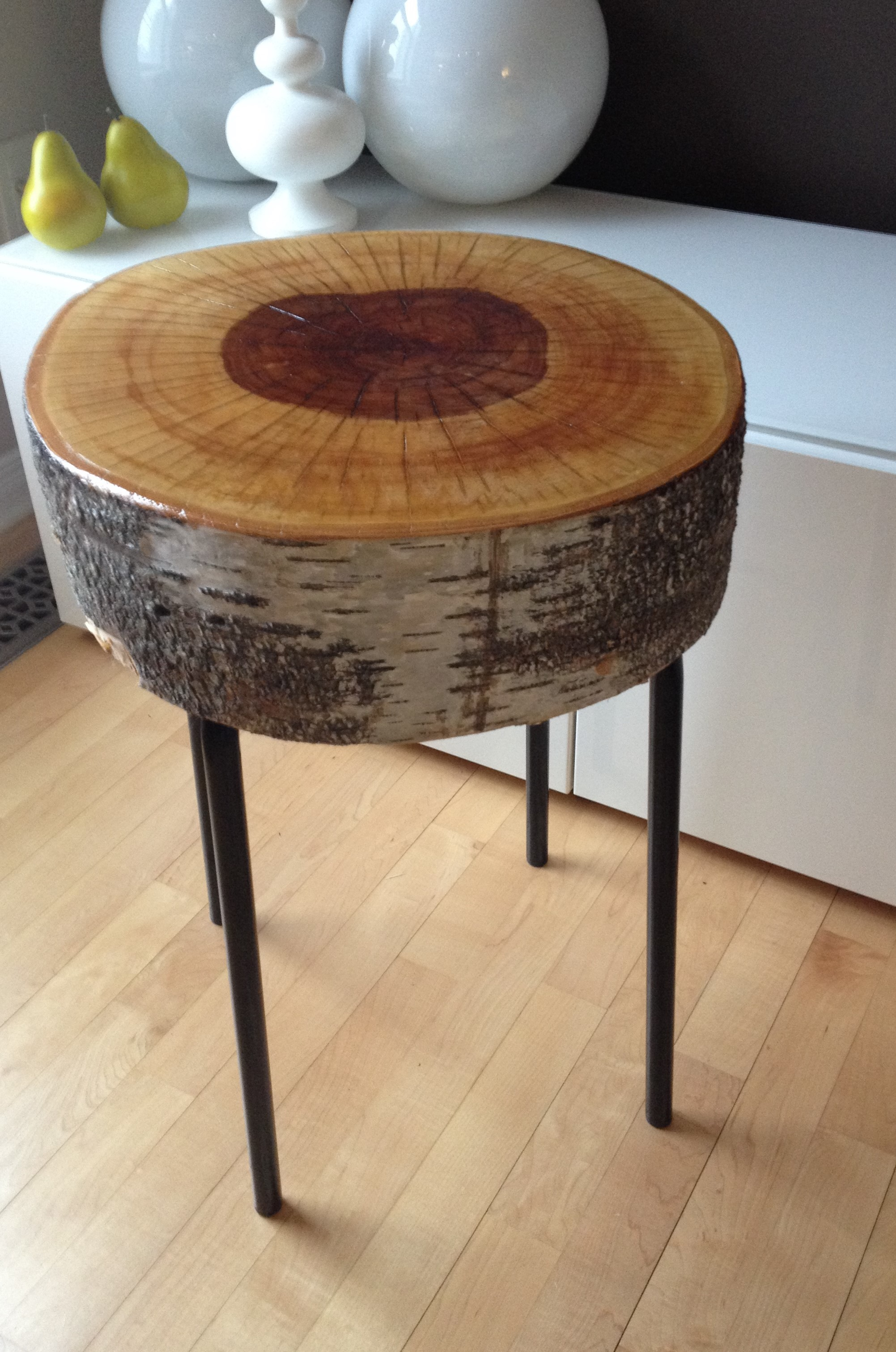 sliced stump side table and metal legs