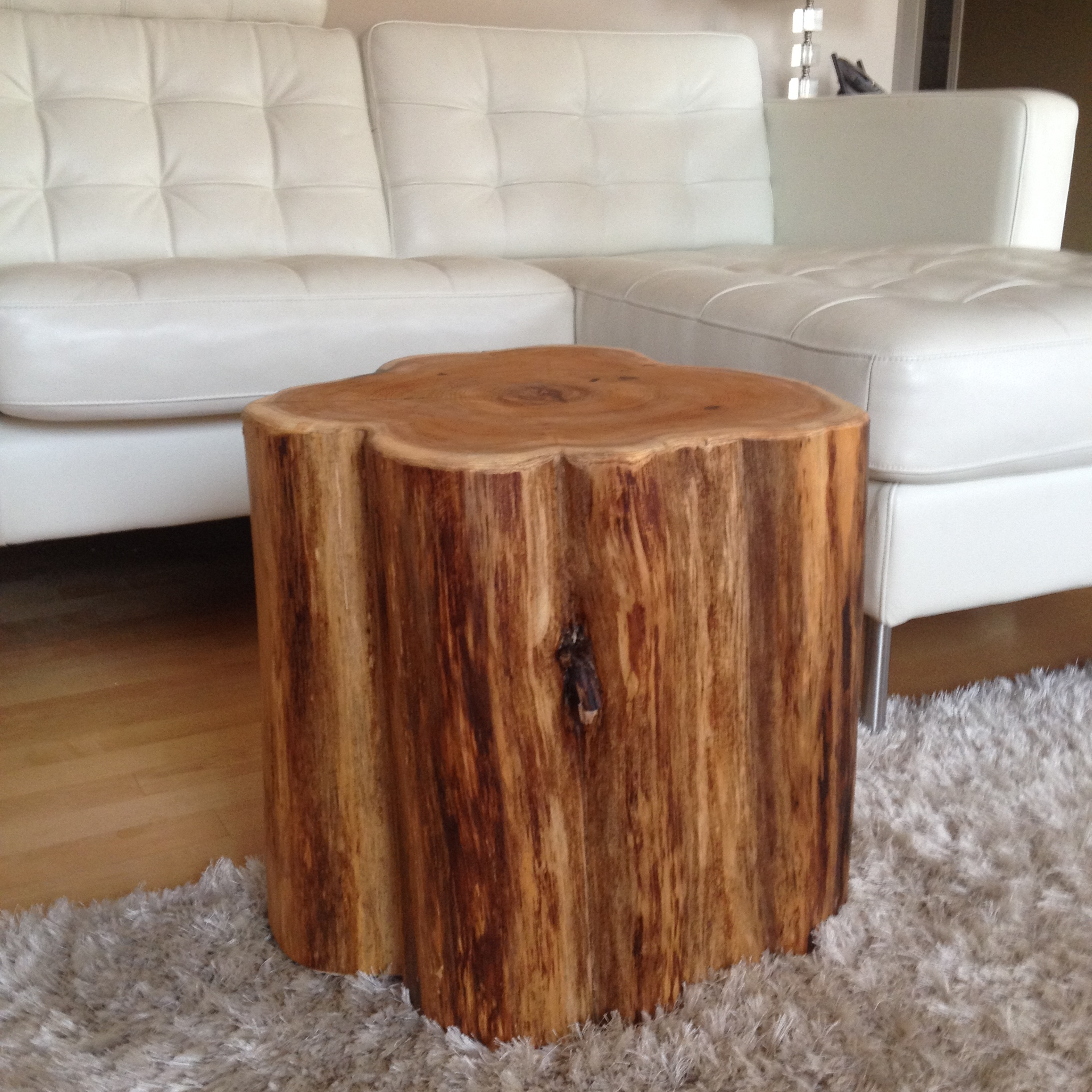 White Tree Stump Coffee Table: Stump Side Table, Log Side Tables, Rustic Coffee Table