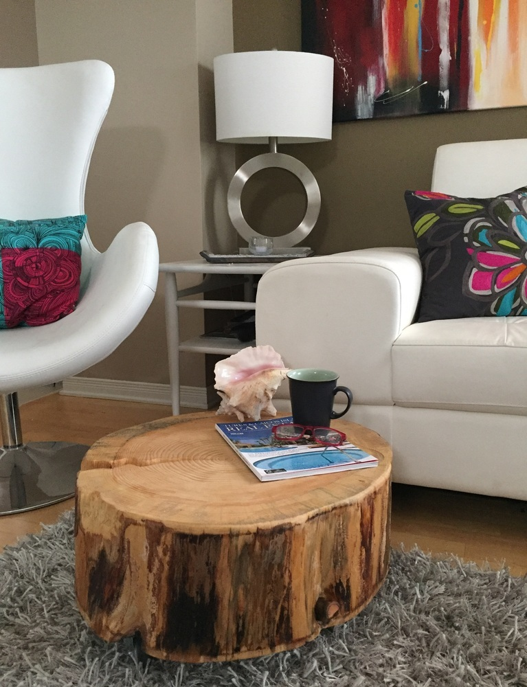 Stump Coffee Table With Metal Caster, Log Coffee Tabe, Tree Trunk Coffee  Table, Rustic Decor, ...
