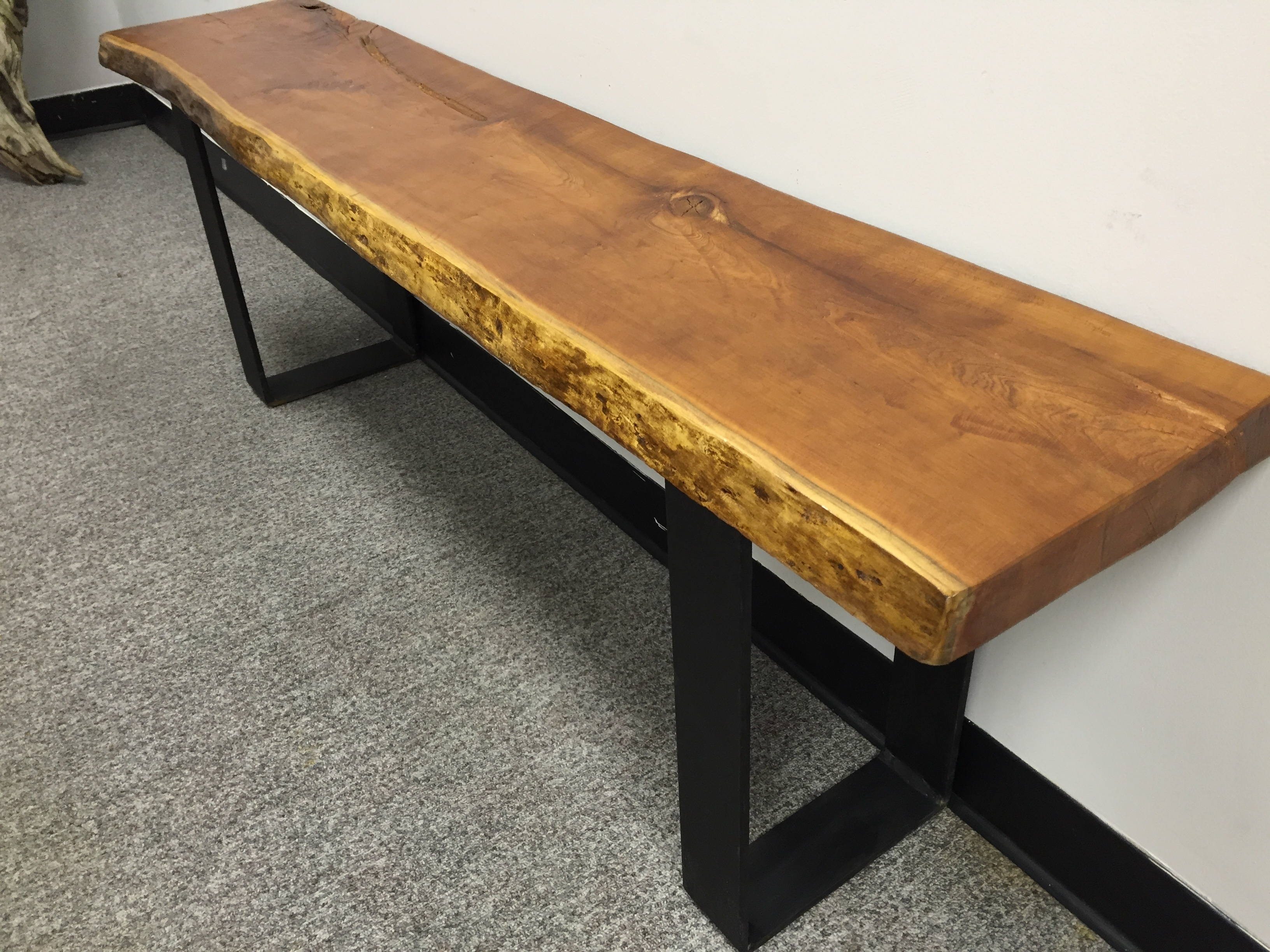 live edge bench or coffee table with hairpin legs