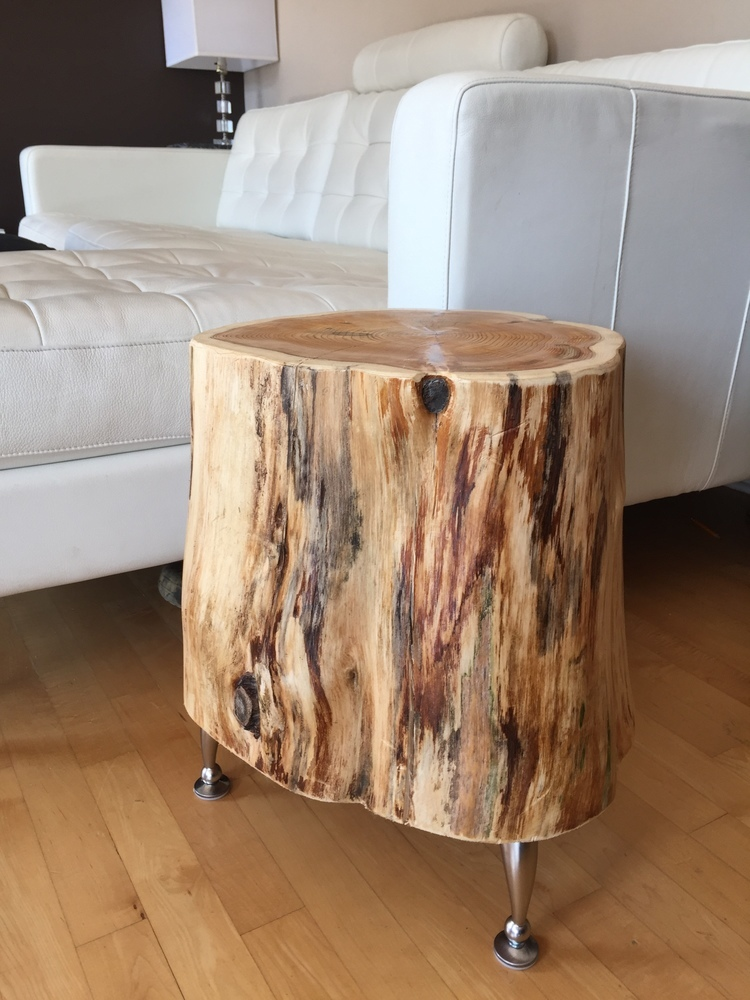 Side Table Stump End Table with metal legsRustic Coffee Table with