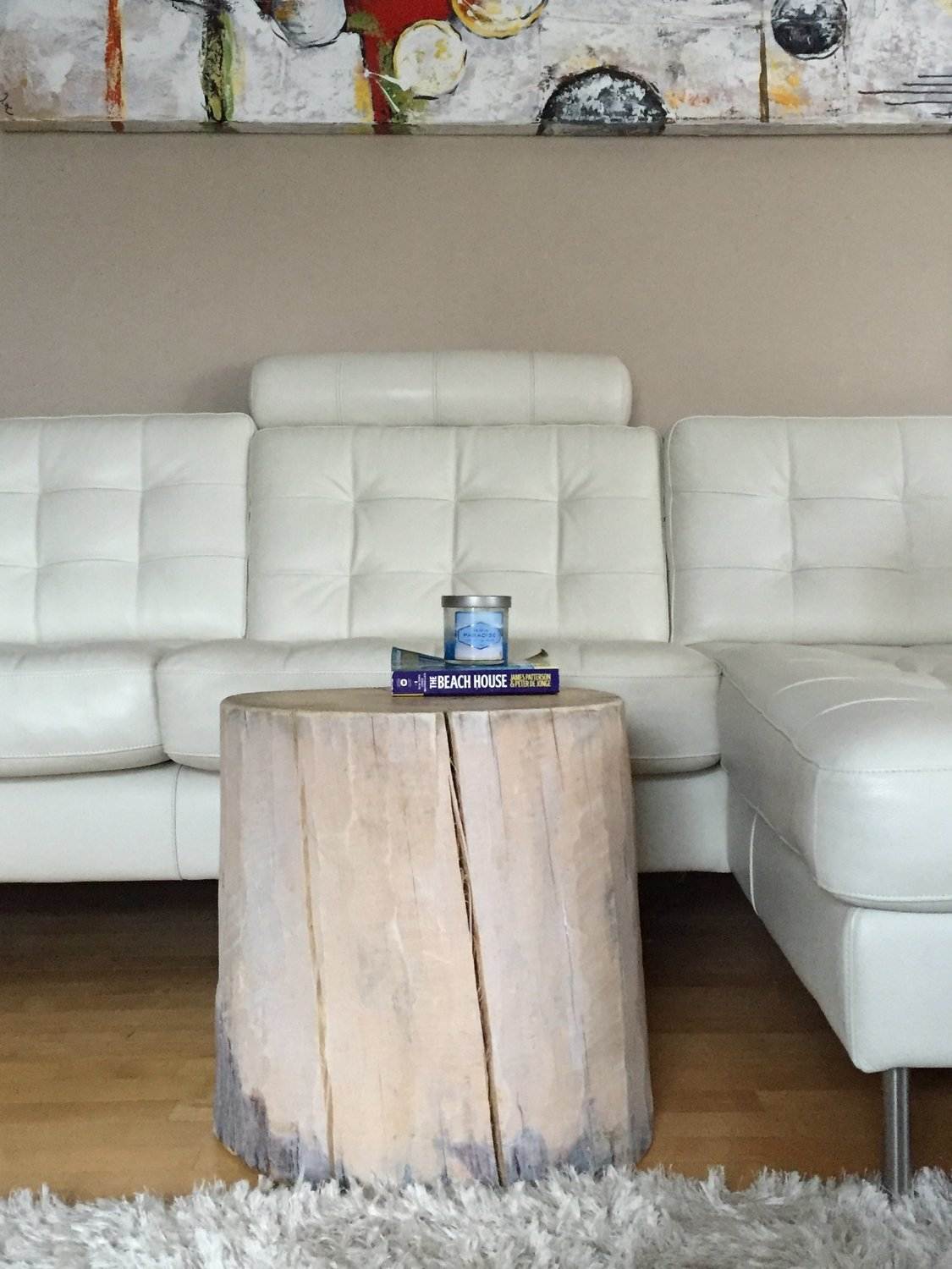White Log Table, White Tree Trunk Table, White Washed Stump Side Table, Log  Side Tables, Rustic Coffee ...