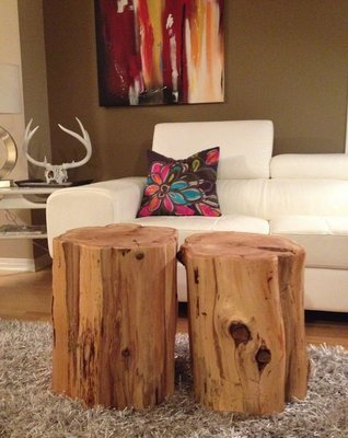 Stump Side Table, Log Side Tables, Rustic Coffee Table, Tree Trunk Table,  Wood Block Furniture  X LARGE