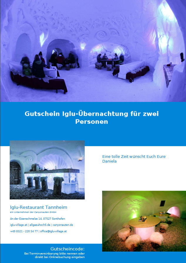 Gift certificate / Voucher Igloo Night for two persons