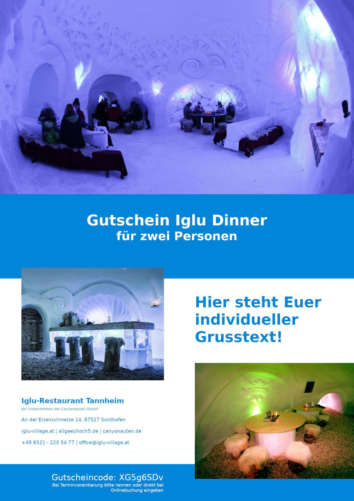 Gutschein Iglu-Dinner Tannheim