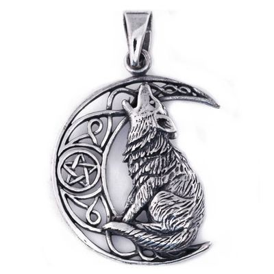 Pendant Silver Wolf On Moon