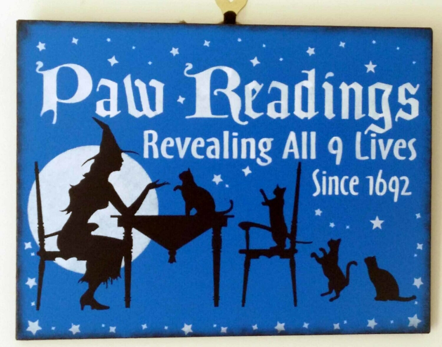 Paw Readings Wooden Sign - Blue