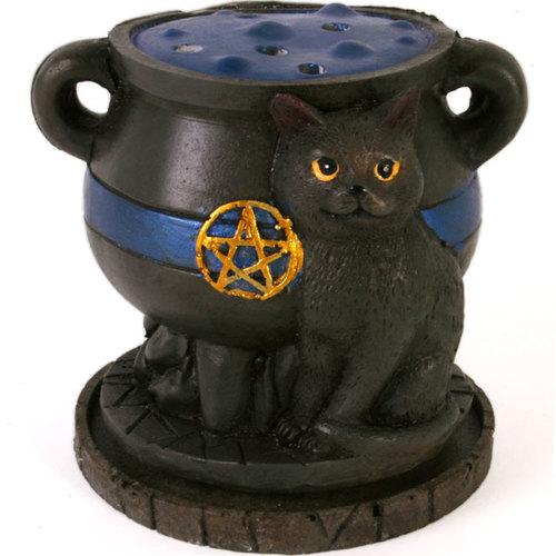 Cauldron with Black Cat Cone Incense Burner