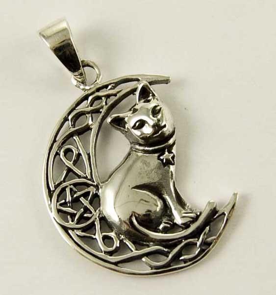 Pendant Silver Cat On Moon