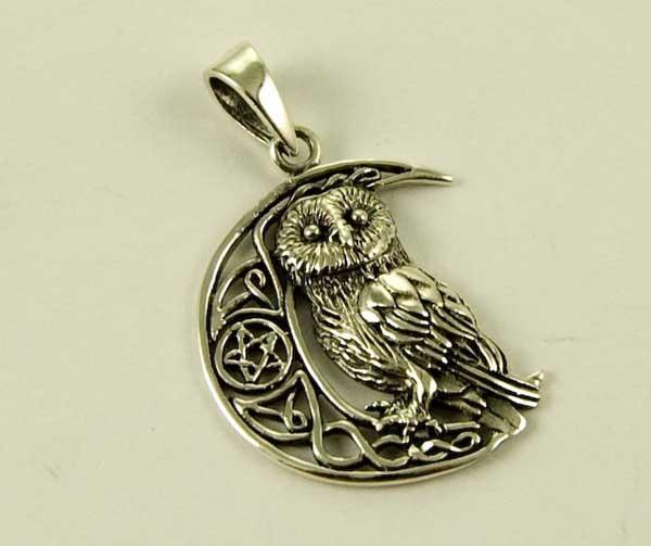 Pendant Silver Owl On Moon