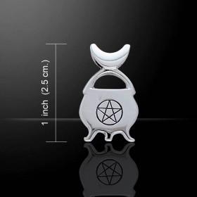 Pendant Silver Cauldron with Pentacle Pendant