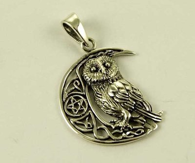 Pendant Silver Owl On Moon