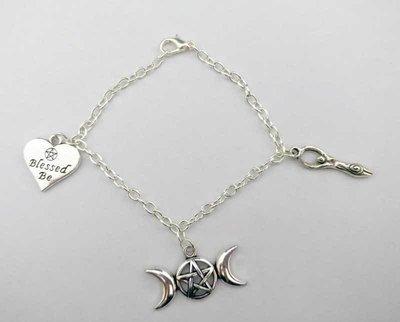 Triple Moon Chain Charm Bracelet