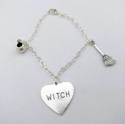Witch with broom Chain Charm Bracelet