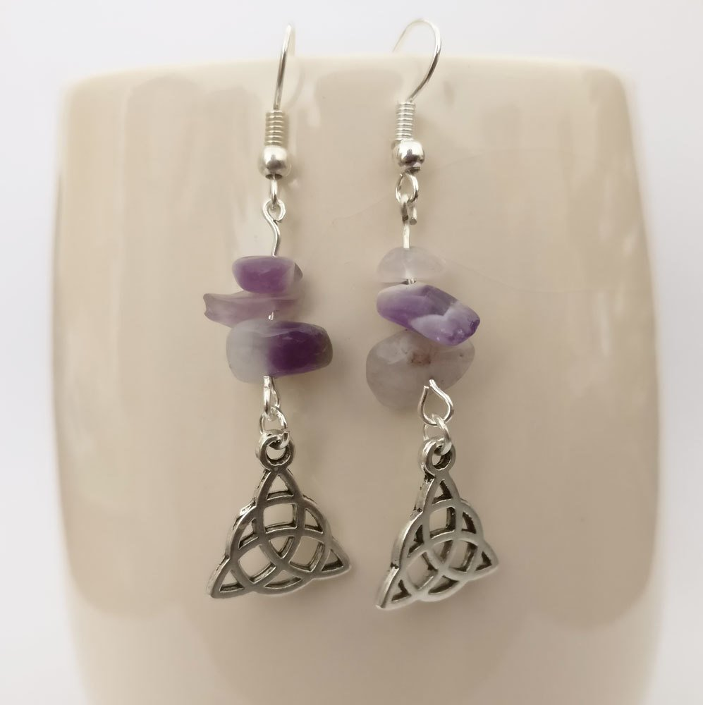 Amethyst with Triquetra Dangle Earrings