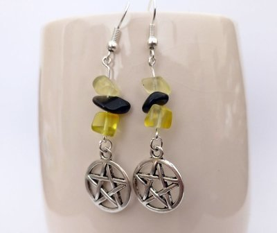 Citrine and Agate Black with Pentacle Dangle Earrings
