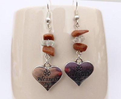 Goldstone and Clear Quartz with Blessed Be Heart Dangle Earrings