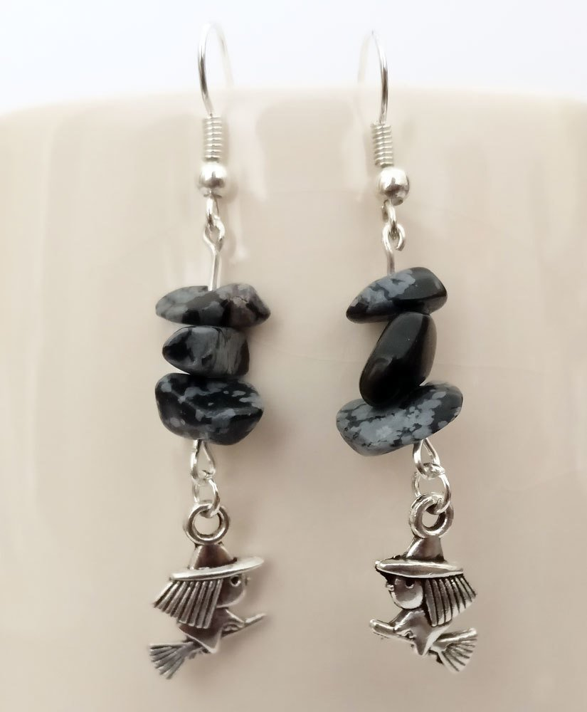 Obsidian Snowflake with Witch Dangle Earrings