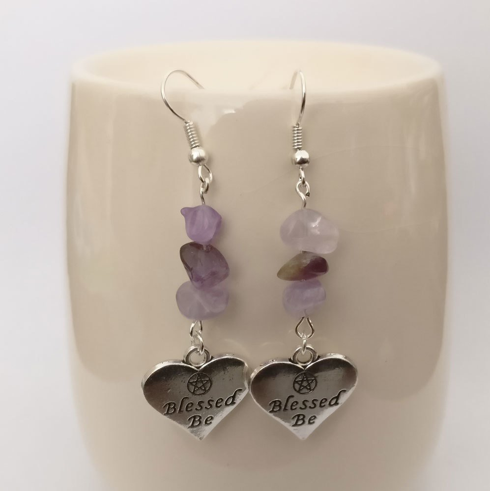 Amethyst with Blessed Be Dangle Earrings