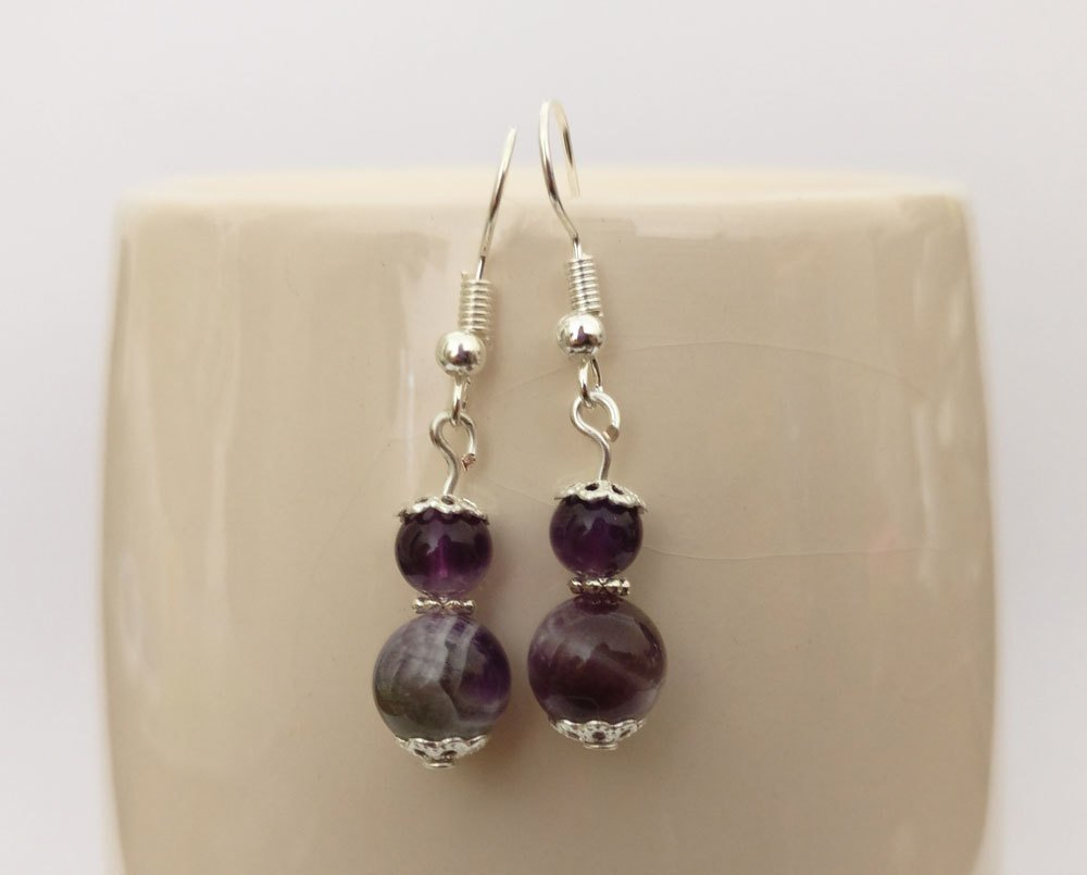 Amethyst Round Beads Dangle Earrings