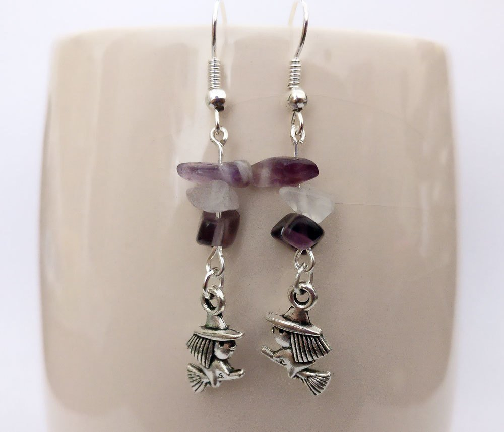 Amethyst with Witch Dangle Earrings