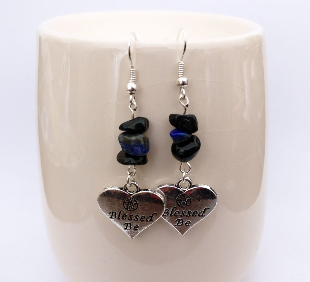 Black Agate and Lapiz Lazuli with Blessed Be Heart Dangle Earrings
