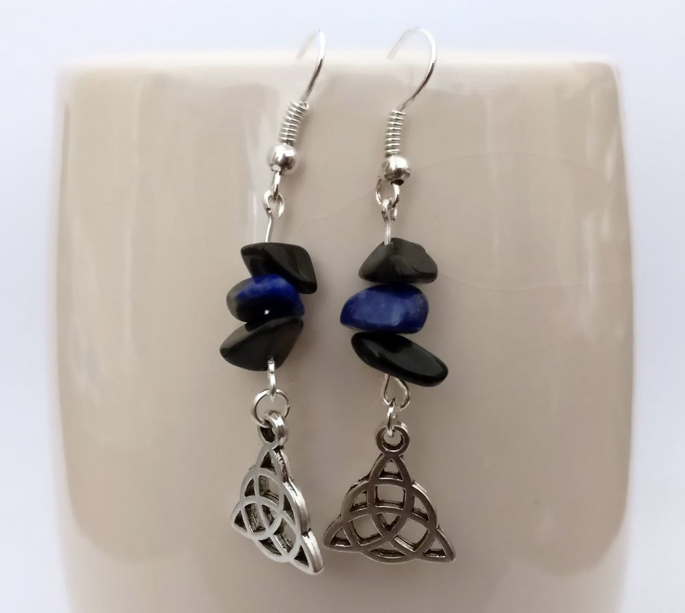 Black Agate and Lapiz Lazuli with Triquetra Dangle Earrings