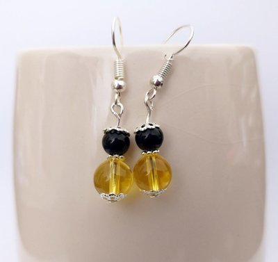 Citrine and Black Onyx Round Beads Dangle Earrings