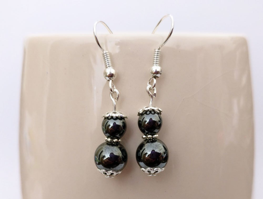 Hematite Round Beads Dangle Earrings