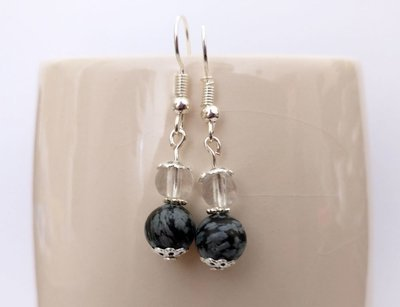 Obsidian Snowflake and Clear Quartz  Round Beads Dangle Earrings